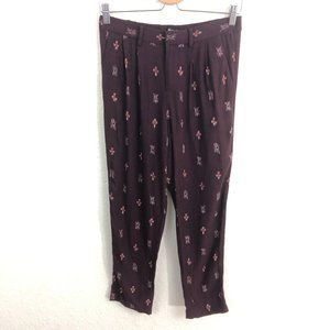 Madewell Delancey Slouch Trousers Sz 0 Burgundy